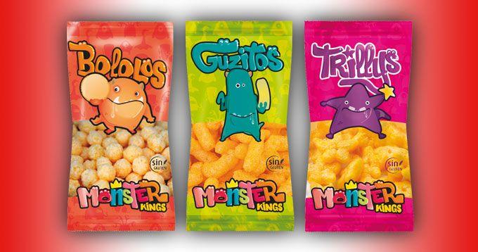 Línea de Snacks Monster Kings, de Frutos Secos Reyes:  Nueva serie de snacks compuesta por: Bololos, aperitivo a base de maíz horneado, y aromatizado con harina de maíz con azúcar; Guzitos, aperitivo a base de maíz; y Trillys, aperitivo a base de maíz horneado y aromatizado con harina de maíz. Todos los productos son sin gluten.