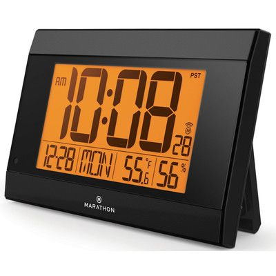 Marathon Watch Company Atomic Digital Wall Clock With Auto-Night Light, Temperature & Humidity - Batteries Included Color:
