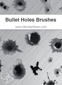 Obsidian Dawn Photoshop & GIMP Brushes - Bullet Holes (various bullet hole shapes, for different materials -- metal, glass, etc.)