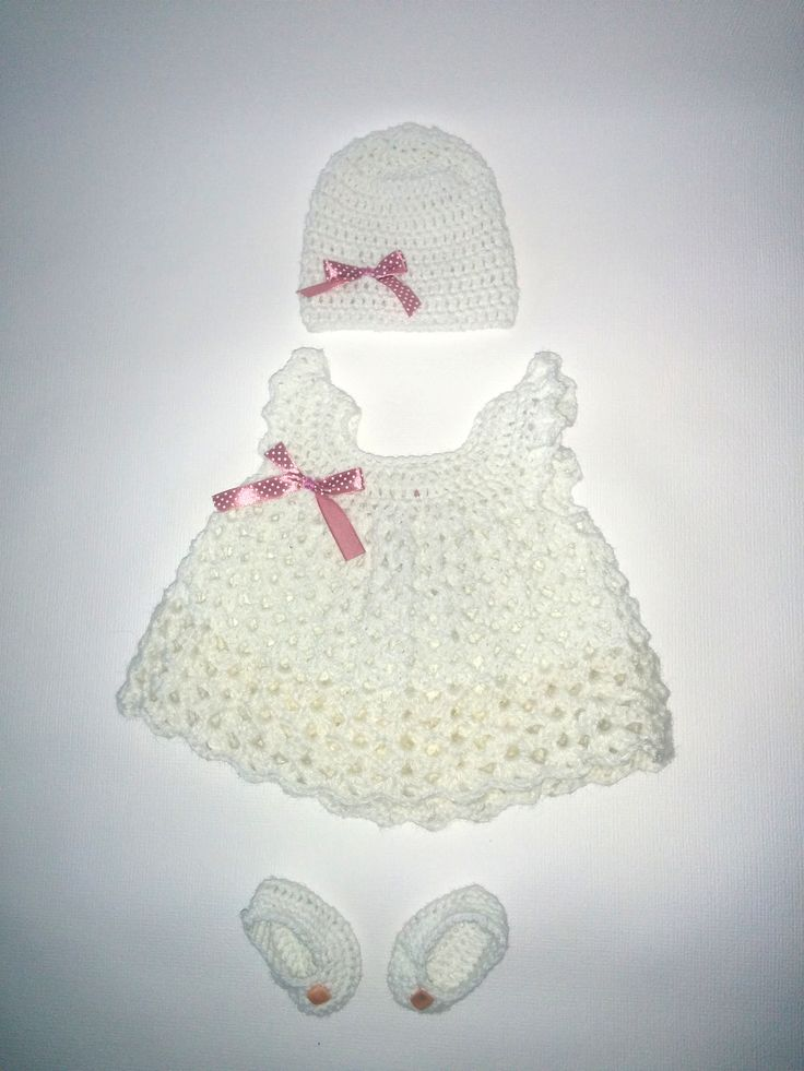 Baptism newborn girl crochet set :)