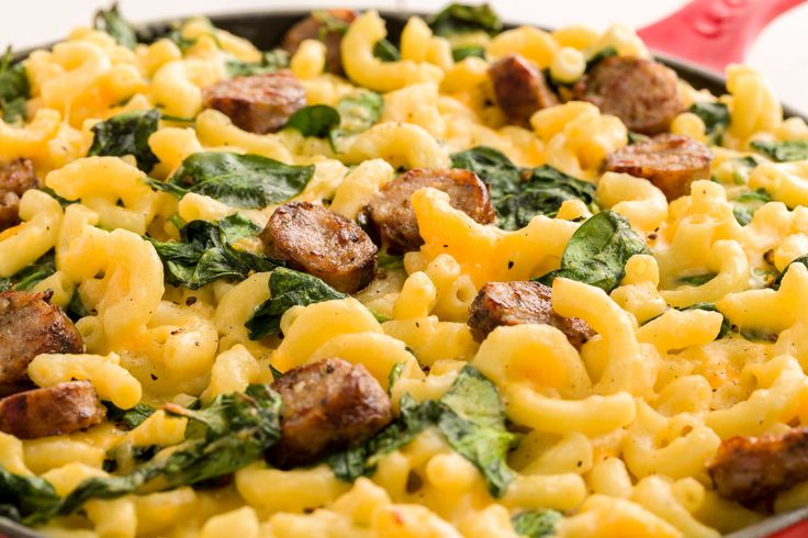 Trader Joe's Mac & Cheese with Italian Sausage and Spinach- maybe with gnocchi instead