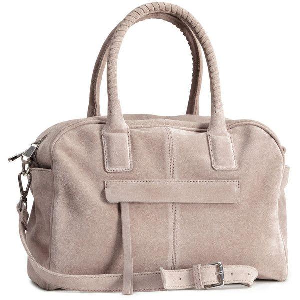 H&M Suede bowling bag (€56) ❤ liked on Polyvore featuring bags, handbags, h&m, light mole, zipper handbags, zip purse, suede handbags, bowling bags and bowler bag
