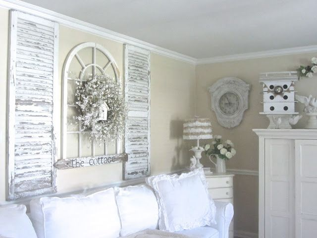 Junk Chic Cottage: Update on Guest Room and New Treasures - lovely shutters as wall art