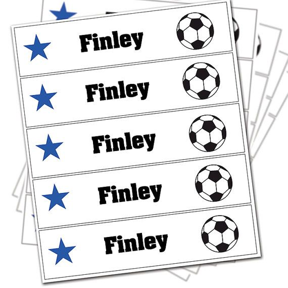 Personalised 30 Football Iron-on Labels back to by BluePonyCo