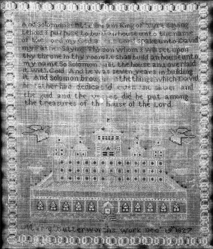 Mary Butterworth Sampler Circa 1827, Birmingham's Arlington House (12 x 14) (A0007585)