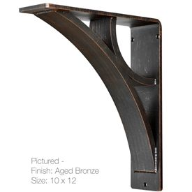 Picture here is our 3inch wide Eclipse Corbel in the 10 by 12 inch bracket size with an Aged Bronze Finish and top mounting holes. This is available in 6 brackets sizes and 5 finish options.