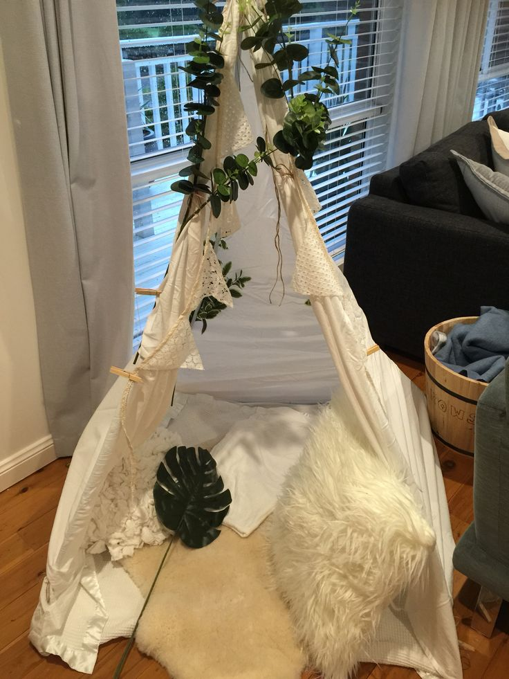 Teepee made out of bed sheet