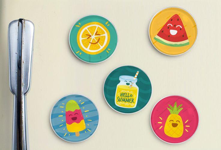 Summer Fun Glass Magnets - Fridge Magnet, Refrigerator Magnet, Locker Magnet, Office Magnet, Summer, Spring, Bright Colors, Pineapple, Lemon by TreeSawCrafts on Etsy
