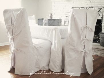 Custom Shabby Chic Parsons Dinning Chair Covers in White Canvas Cotton contemporary dining chairs and benches