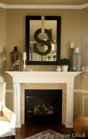 """I happen to think putting an """"A"""" over the mirror on our mantel could be quite kewl... Bringing the family name together in our sitting room :)"""