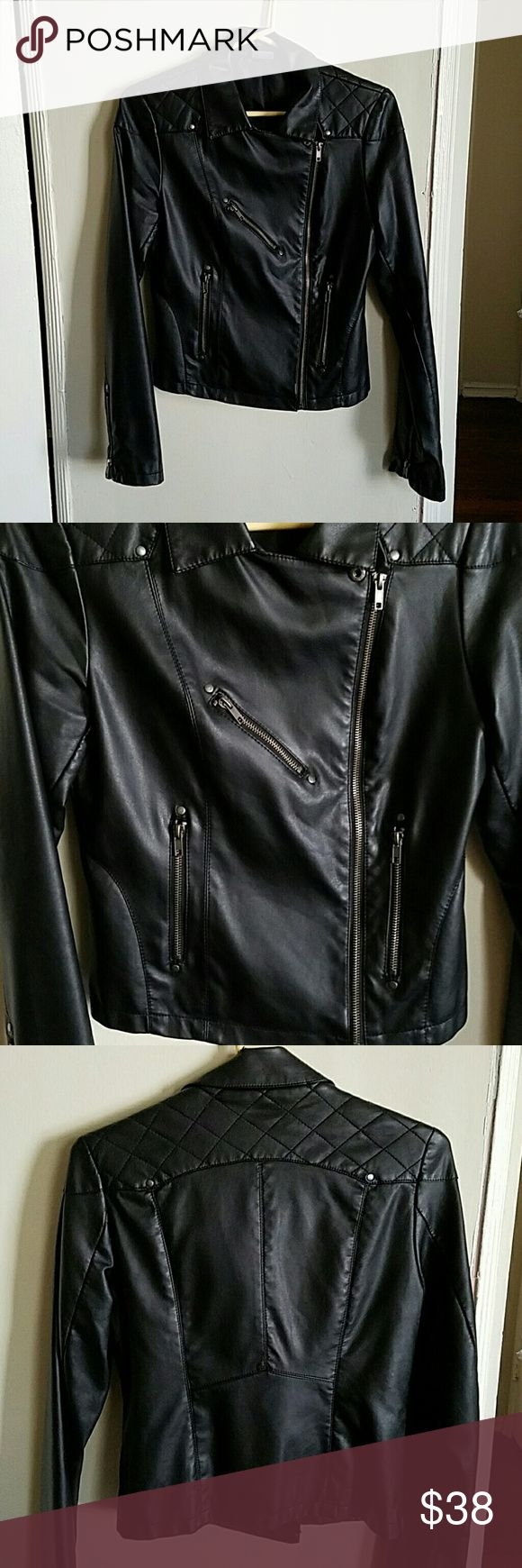 Urban Outfitters Faux Leather Moto Jacket Urban Outfitters faux leather moto jacket by Sparkle & Fade. Zipper pockets. Quilted pattern in the back.  Minor snag at the top of the collar (last pic) Urban Outfitters Jackets & Coats