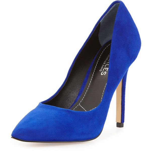 Charles David Pact Pointed-Toe 100mm Pump (180 BRL) ❤ liked on Polyvore featuring shoes, pumps, royal, suede leather shoes, suede pointy toe pumps, suede shoes, pointed toe shoes and slip-on shoes