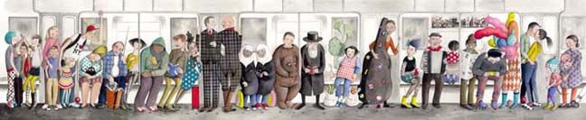 I want this! So perfectly captures NYC and all types of life that are here....Sophie Blackall - art - illustration - nyc - subway art