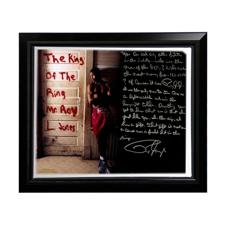 """Steiner Sports Boxing Roy Jones Jr. Dominating in the '90s Facsimile 22"""" x 26"""" Framed Stretched Story Canvas, Multicolor"""