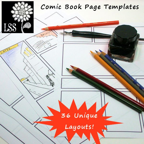 """Good to use for the students when they are designing their comic strip!    In this kit you get 19 PDF comic book storyboard layouts that you can print, use as is or turn them upside down for 36 unique 8.5""""x11"""" pages."""