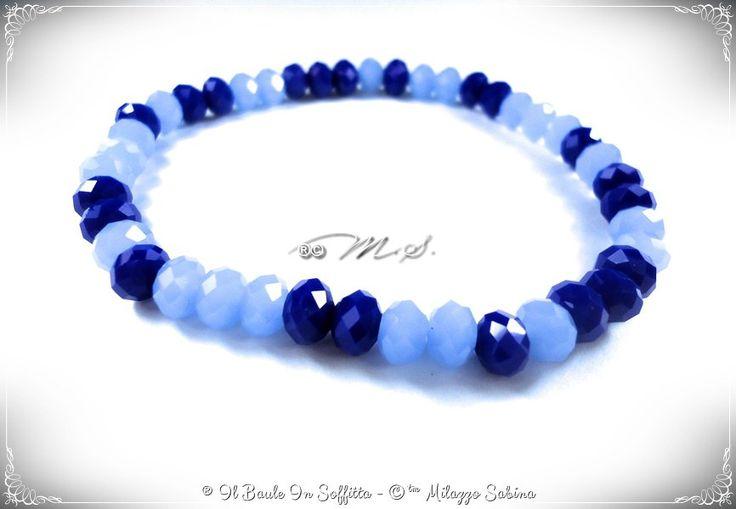 Bracciale Elastico con Cristalli Blu/Azzurro, by Il Baule In Soffitta, 3,80 € su misshobby.com
