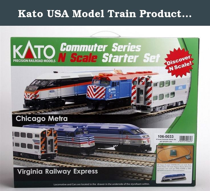 "Kato USA Model Train Products N MP36PH and Gallery Bi-Level Commuter Series Virginia Railway Express UNITRACK Starter Set. Kato N Scale Commuter Series Starter Set Includes M1 Set MP36PH VRE Locomotive 2 Coach Cars and 1 Cab/Coach ... FEATURES: 4' X 3' Complete Oval of Unitrack, Track (12 3/8"" Radius Curves), Grade Crossing/Rerailing Track, A Kato DC Power Pack, N MPI MP36PH Virginia Railway Express V51 Locomotive, N Gallery Bi-Level Coach Virginia Railway Express V807, N Gallery Bi-Level..."