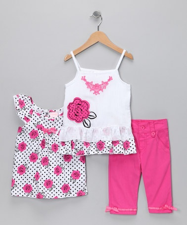 Take a look at this Pink Rose Capri Pants Set - Infant, Toddler & Girls by Nannette Girls on #zulily today!