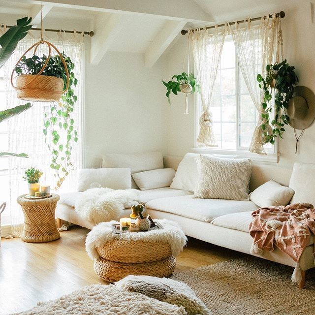This Bohemian Living Room Is The Definition Of An Oasis It S Also A Rental Apartment Ta Bohemian Living Room Decor Apartment Living Room Bohemian Living Room