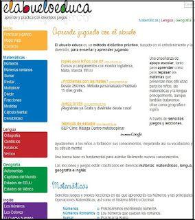 El abuelo educa. El Abuelo Educa es una web con actividades relacionadas con las Matemáticas, Lengua, Geografía e Inglés y con un sistema de puntuación en función del número de intentos y de aciertos