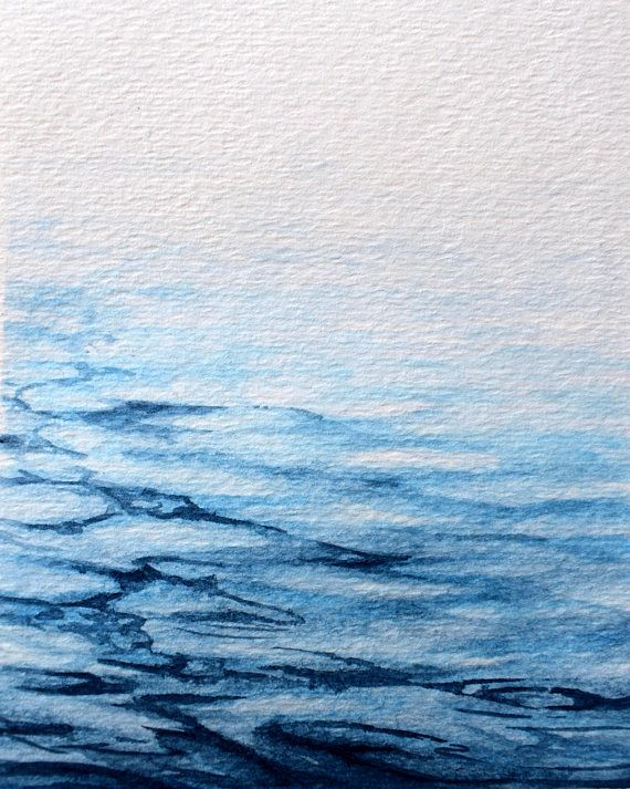 Calm Ocean Ocean Painting Ocean Watercolor Ocean Art Beach