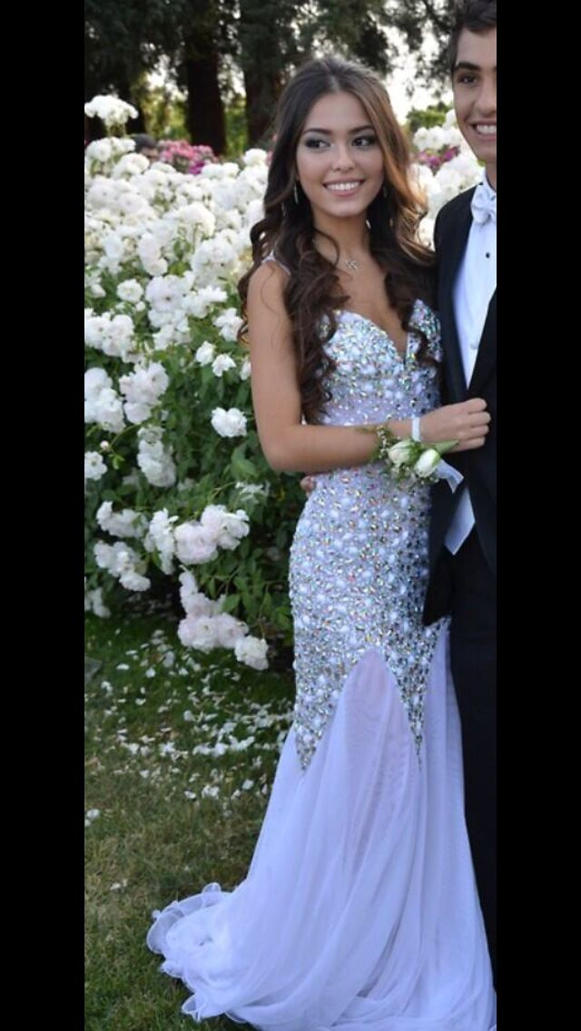 White strapless sequin prom dress.