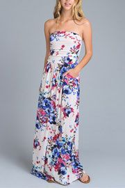 Bright Floral Strapless Tube Maxi Dress with Pockets-White & Blue