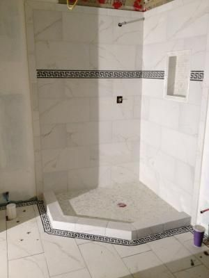 shower tiles elegant oaks insert ideas of niche bathroom subway tile and with lowes white ready large surround floor grout size