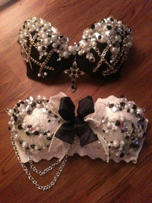 So it's a bra that's been blinged up. It was hard to decide if it belonged in a fashion board or this Craft one.