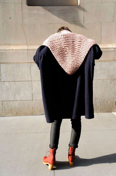 Facile: Hello Winter, Over Hoodie, Clothing, Triangles Scarfs, Knits Hoods, Garter Stitches, Coats, Boots, Style Fashion