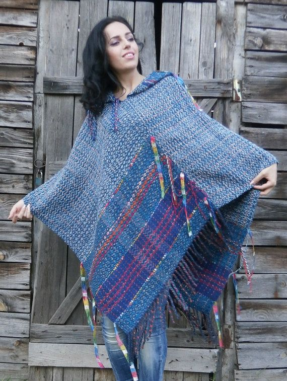 Handwoven Poncho with a hood. Blue. by DodoPoncho on Etsy