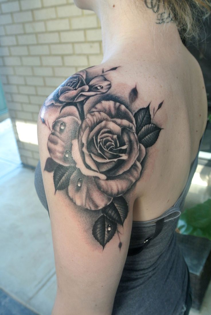 FYeahTattoos.com — Realistic roses shouldertattoo By Lou Shaw from...