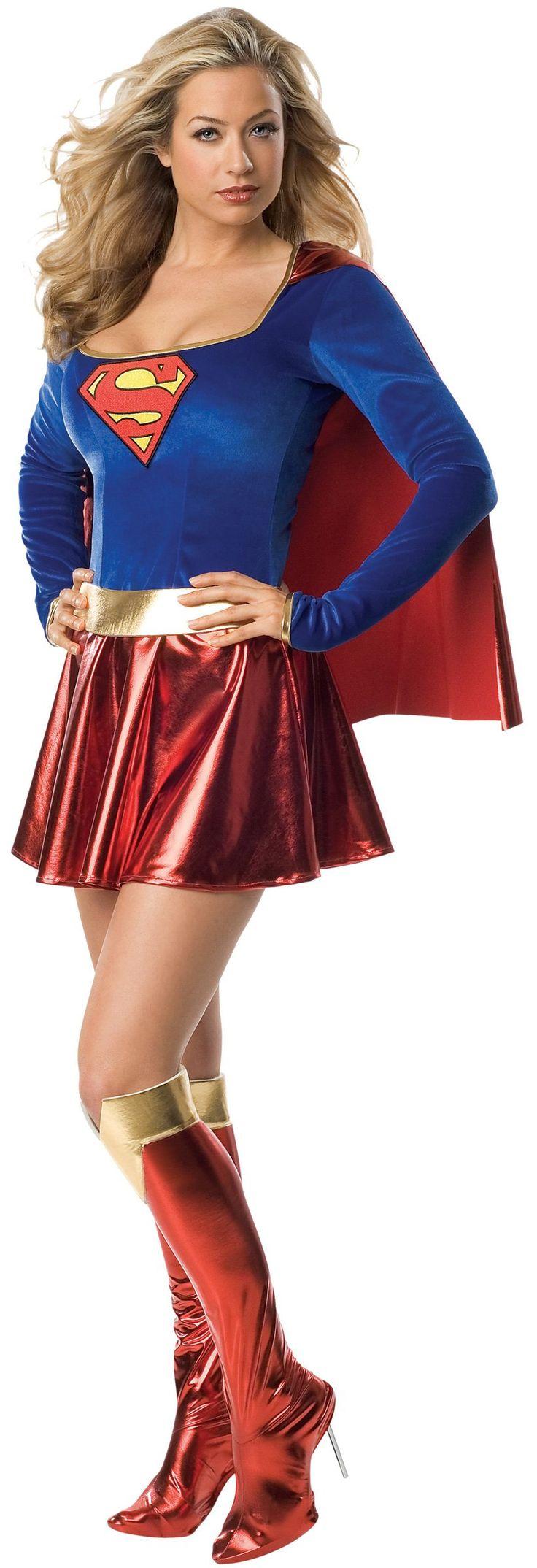 Déguisement luxe de Supergirl™ sexy femme : Ce déguisement de luxe sous licence officielle de Supergirl™ pour femme se compose de 3 pièces. Une robe courte sexy avec la cape cousu dessus, une ceinture dorée et de...