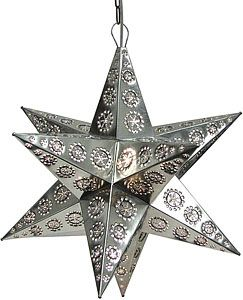 These handmade hanging tin stars from Mexico are the ultimate accent to your rustic or southwestern decor!  The various punched out designs are absolutely stunning when illuminated and glow from every angle of the four-sided arms.  Hang one in any room of your home for unique decorative lighting.
