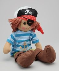 Jack the Pirate comes dressed in complete pirate costume this fantastic rag doll pirate comes comeplete with eye patch and boasts a couragous personality. Great rag doll for a boy or girl