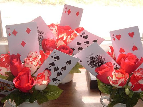 Painting-the-roses-red centerpiece. Big hit! Will post my own photo later