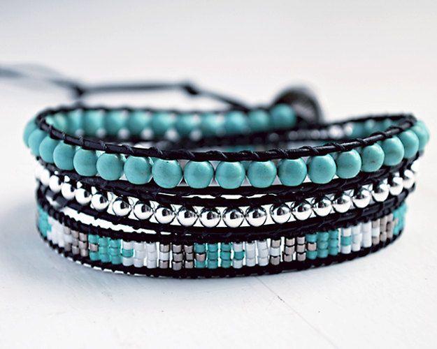 Turquoise Wrap Bracelet // Black Leather // Friendship by Gomeow