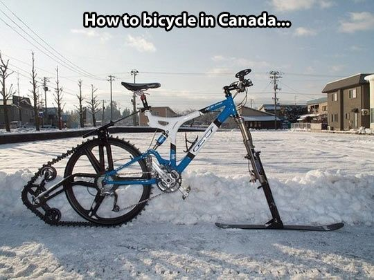 Haha, how to cycle in Canada during the winter :-) I just have studded tires but this looks tempting...