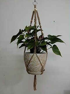 4 Legs Macrame Natural Jute Plant Holders with Wood Bead Decoration and Metal Ring, 38.5-inches Length