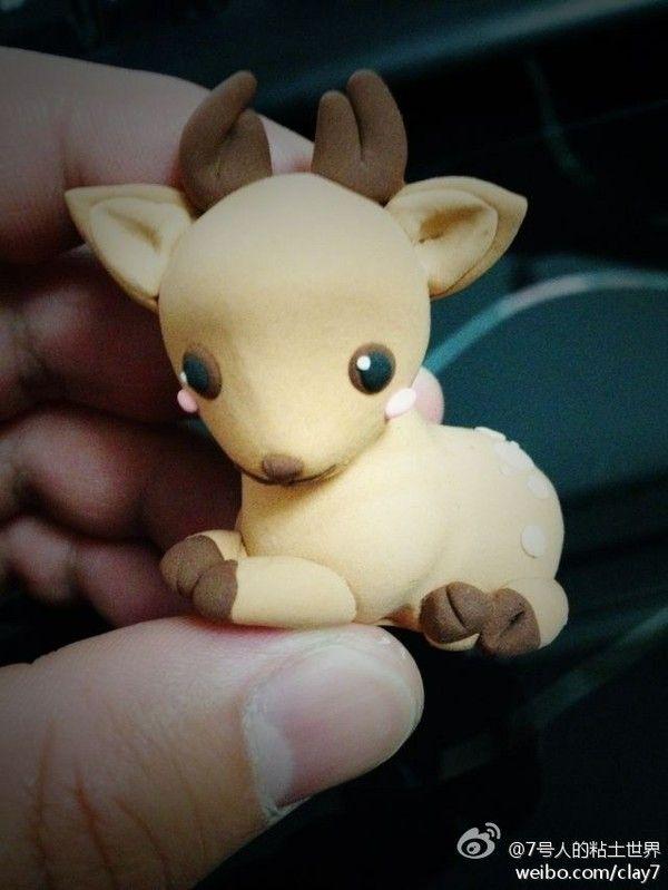 粘土 polymer clay baby deer, fawn. So cute!