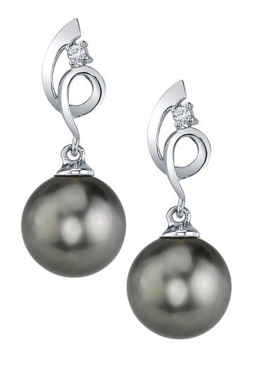14K White Gold 9mm Tahitian South Sea Pearl Ribbon & Diamond Accent Earrings