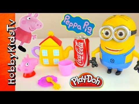 Minion Tea Party with Peppa Pig Sip n' Oink Tea Set! Coca Cola, Play-Doh...
