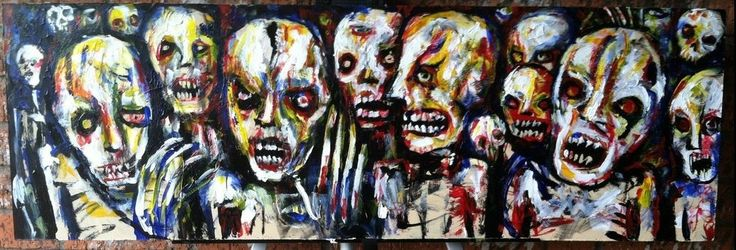 """bloody zombie mob, 12"""" x 36"""""""" acrylic on masonite board, by jack larson #Abstract"""