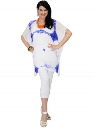 Capri Mid Length Blue & White Kaftan Top  AUD $24.95