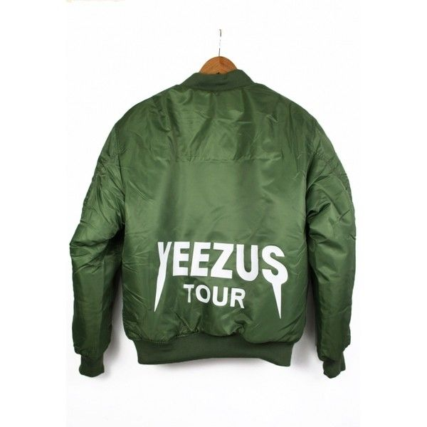 Replica Yeezus Tour Jacket ($6.12) ❤ liked on Polyvore featuring outerwear, jackets, green flight jacket, flight jacket, nylon jacket, green jacket and blouson jacket