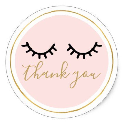 Black eyelashes thank you classic round sticker
