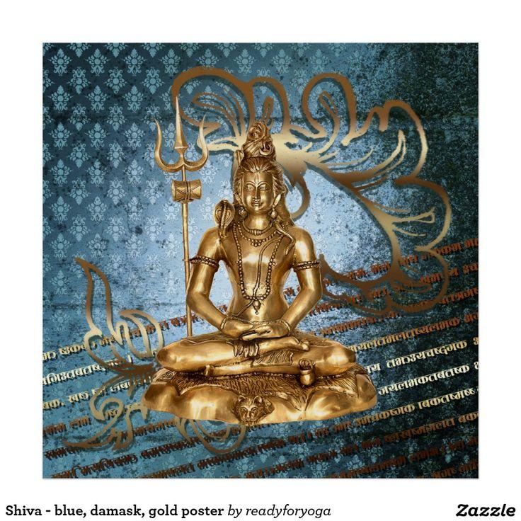 Shiva - blue, damask, gold poster