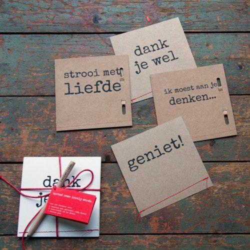 ** spread some lovely words - NL | set of 4 cards | white or brown **   Deze set kaarten is een kadootje op zich! Natuurlijk is het leuk om ze zelf te schrijven en te versturen, maar dit setje is ook een heel origineel kado!