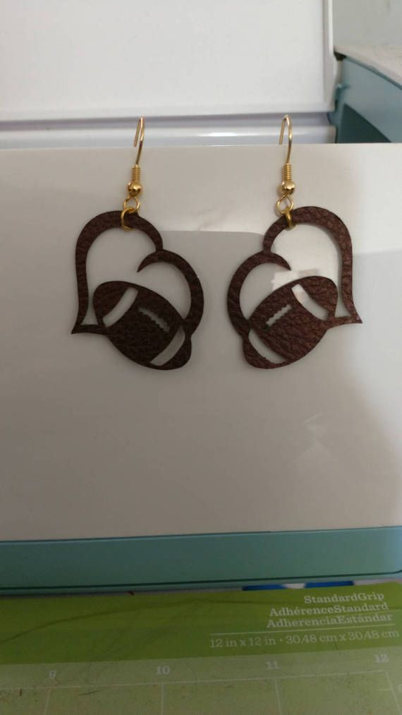 Brown Faux Leather heart with football shape by