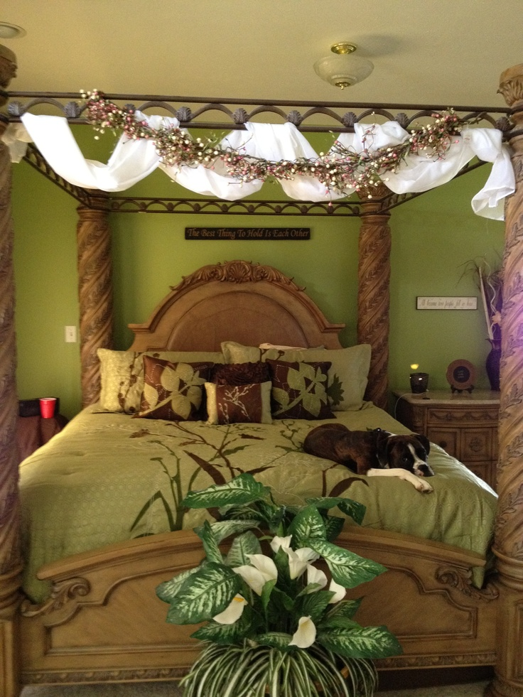 Beautiful green and brown bedroom! Even the boxer matches :)